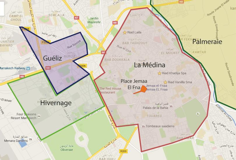 Areas of Marrakech Gueliz Medina Palmeral | Guide