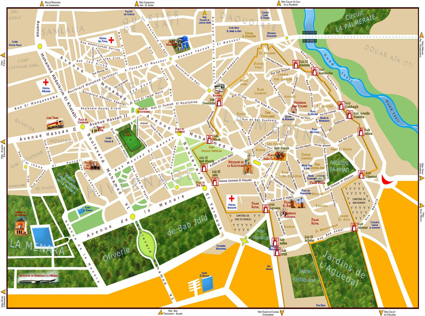 Maps Of Marrakech To Download Or Print Bus Map Souks Train City