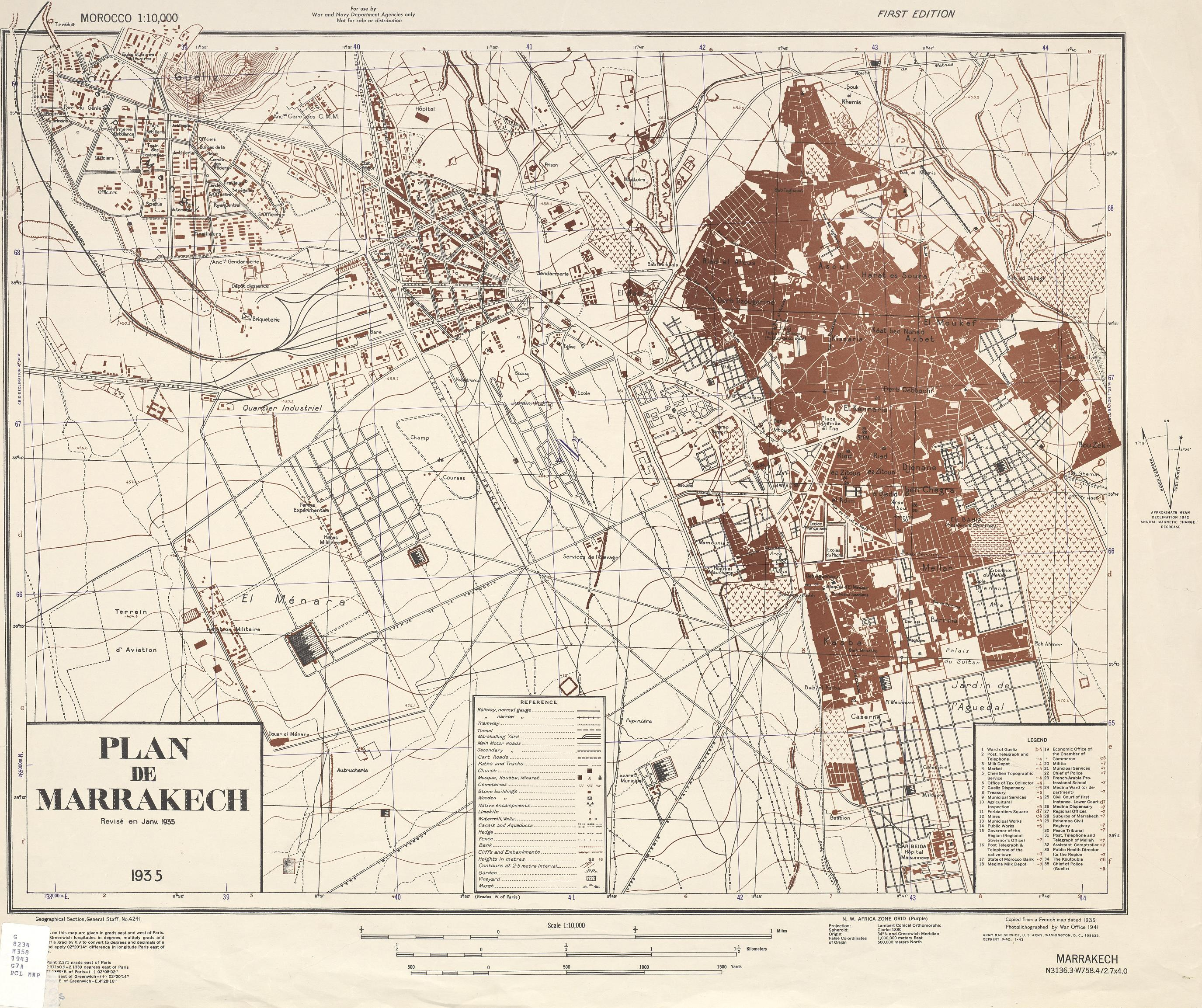 Cartes Plans de Marrakech | Ancienne Carte 1935