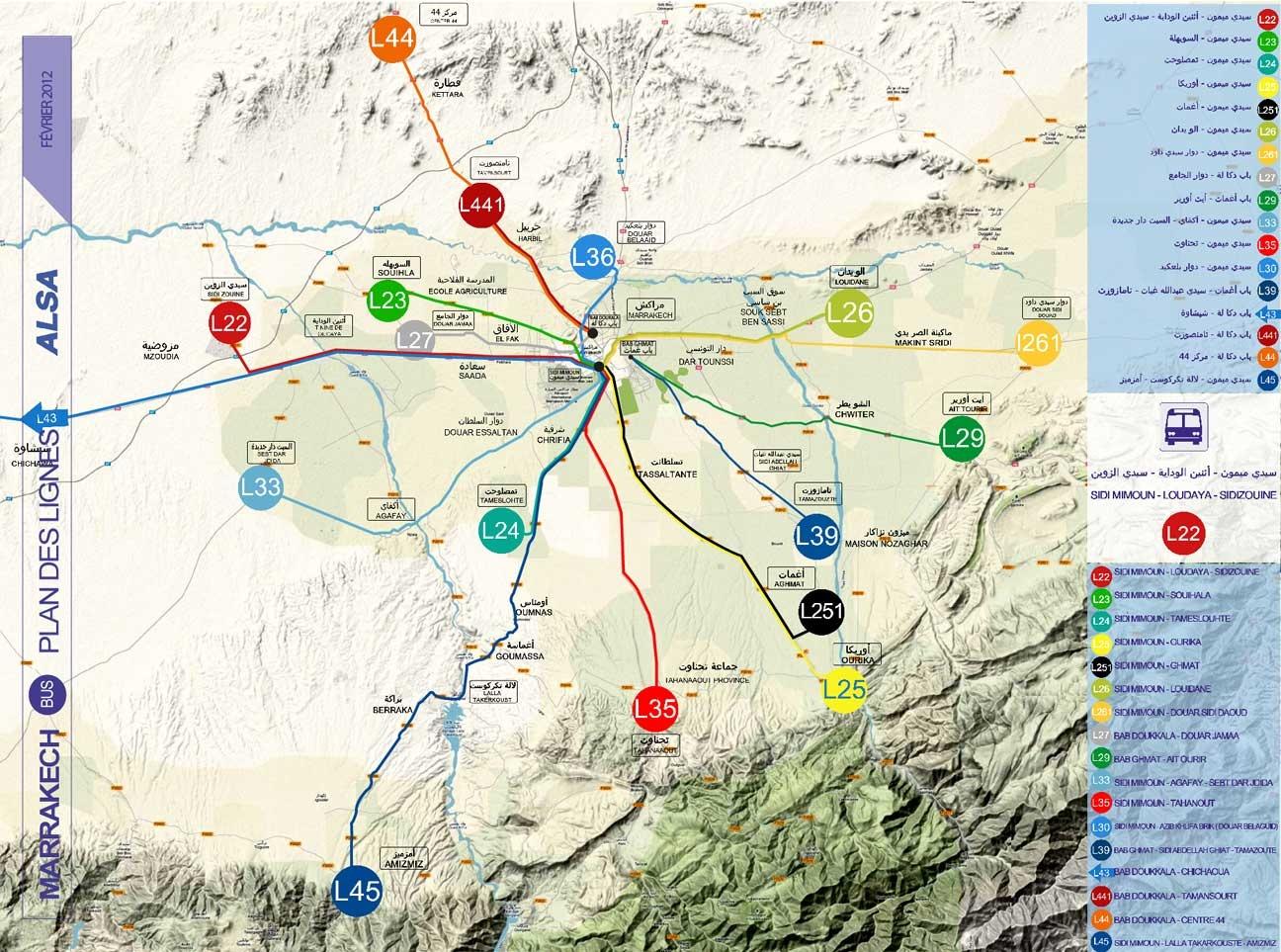 Cartes Plans de Marrakech | Réseau de Bus Périurbain Ourika Agafay A Imprimer