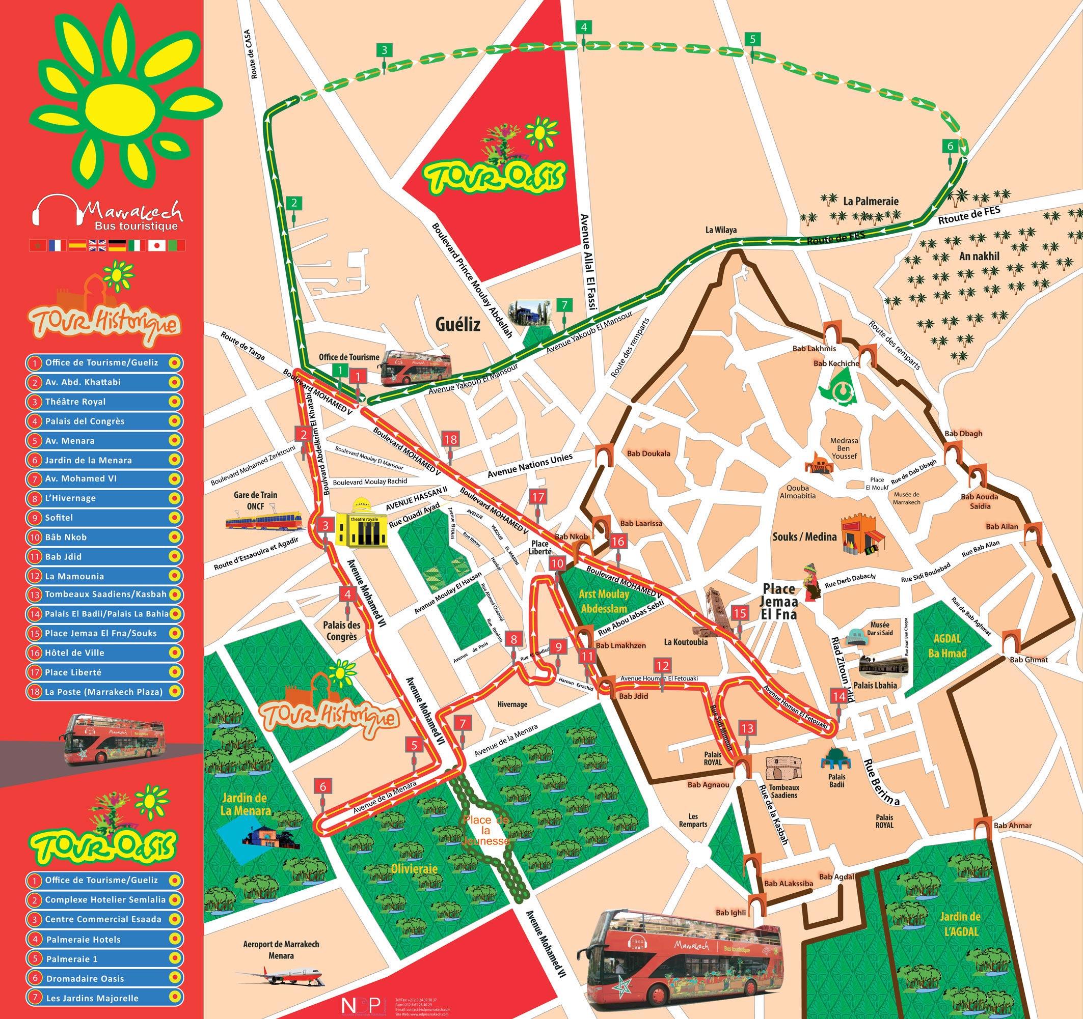 Cartes Plans de Marrakech | Bus Touristique Rouge 24h A Imprimer