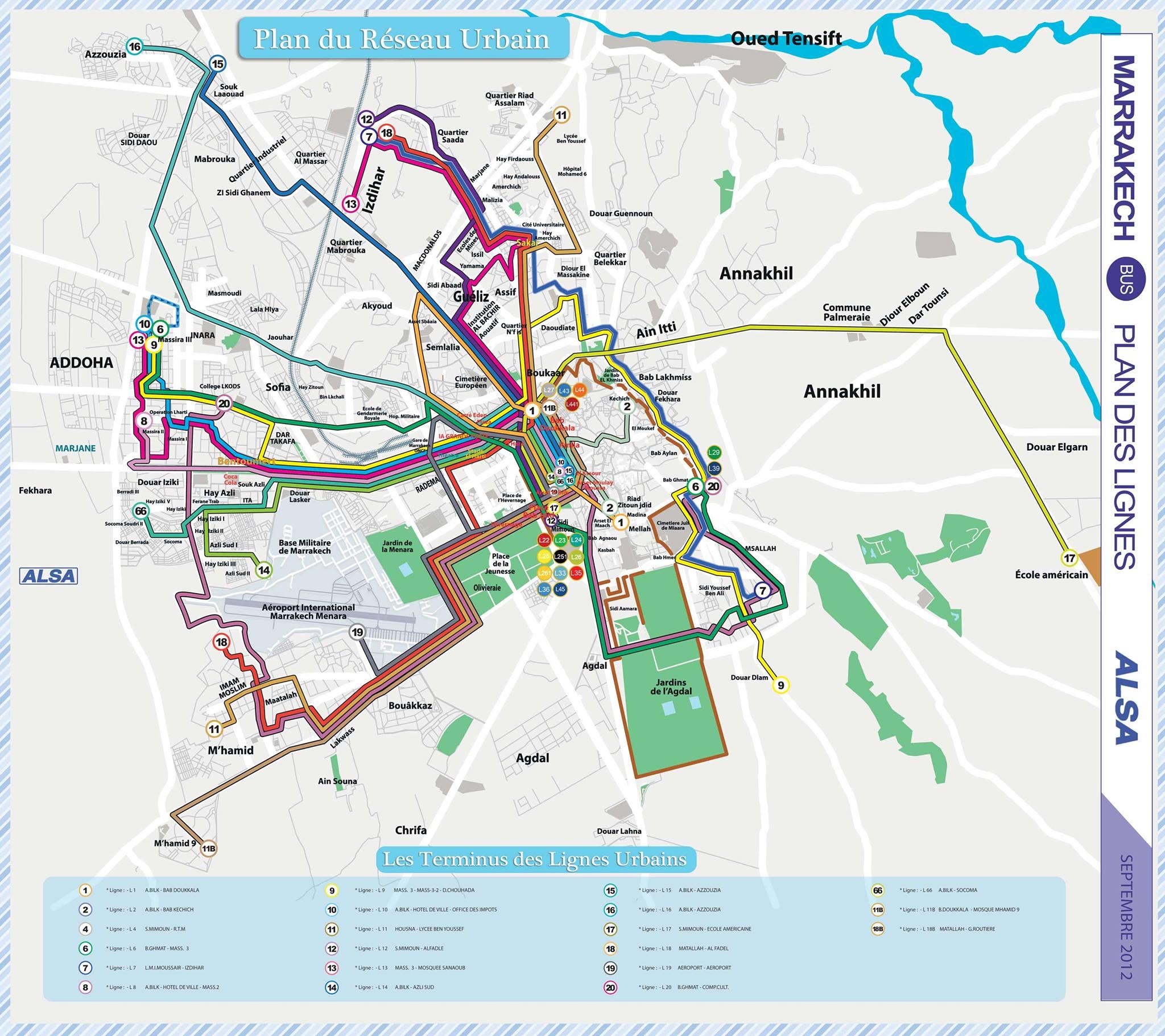 Cartes Plans de Marrakech | Réseau de Bus A Imprimer