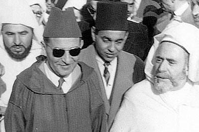 Dar el Bacha Musee des Confluences Palais Pacha Glaoui Marrakech | Sa Majesté le Sultan Sidi Mohammed Ben Youssef lors du retour d'exil