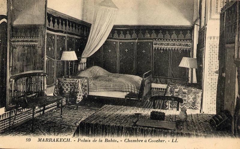 chambre a coucher palais de la bahia - photo ancienne