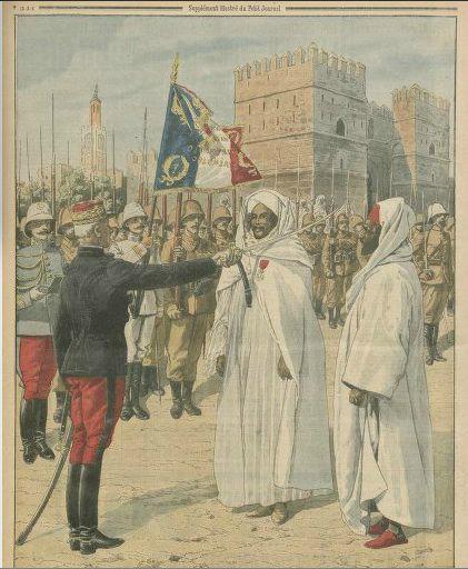 lyautey decore Si Madani Glaoui ancien grand vizir du sultan moulay hafid et le pacha de marrakech tami el glaoui en 1912