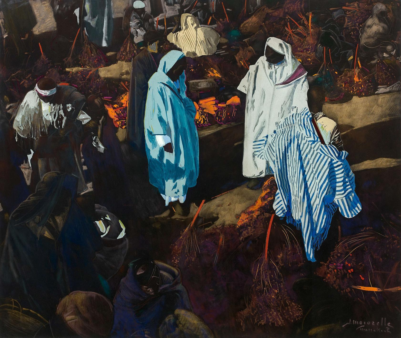 jacques majorelle - Marchands de Dattes dans le Souk - Marrakech