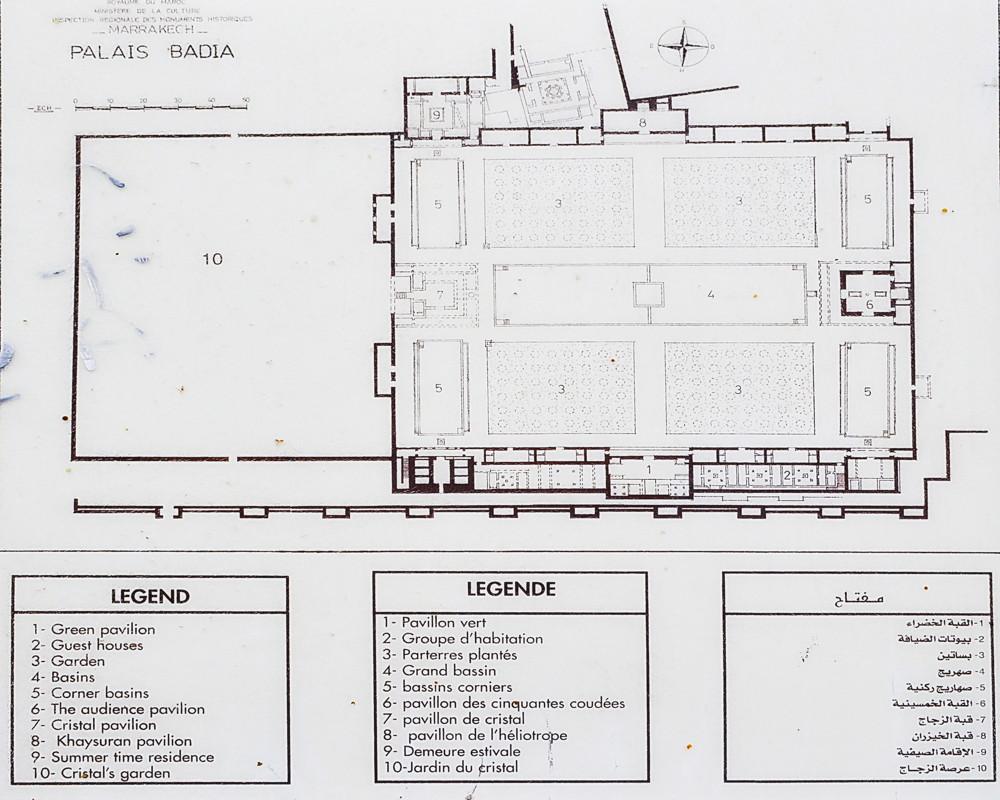 maroc marrakech-palais-el-badia-plan archeo pavillons bassins patio