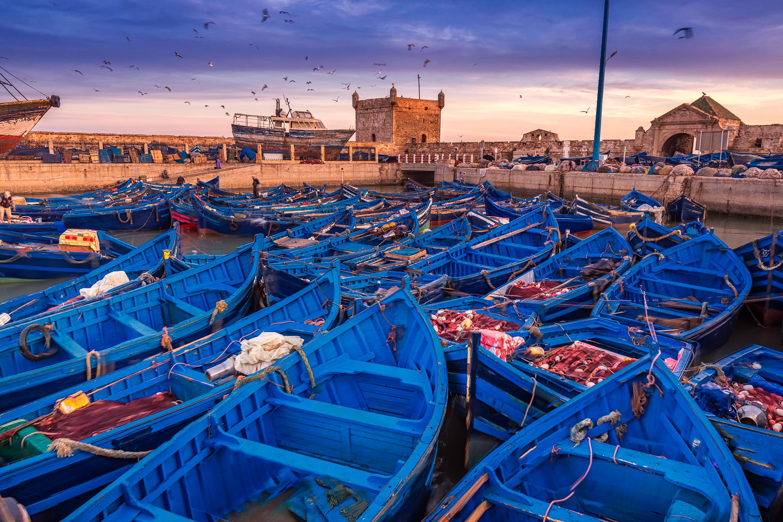 Essaouira Port vue sur la Sqala et le Bad el Marsa