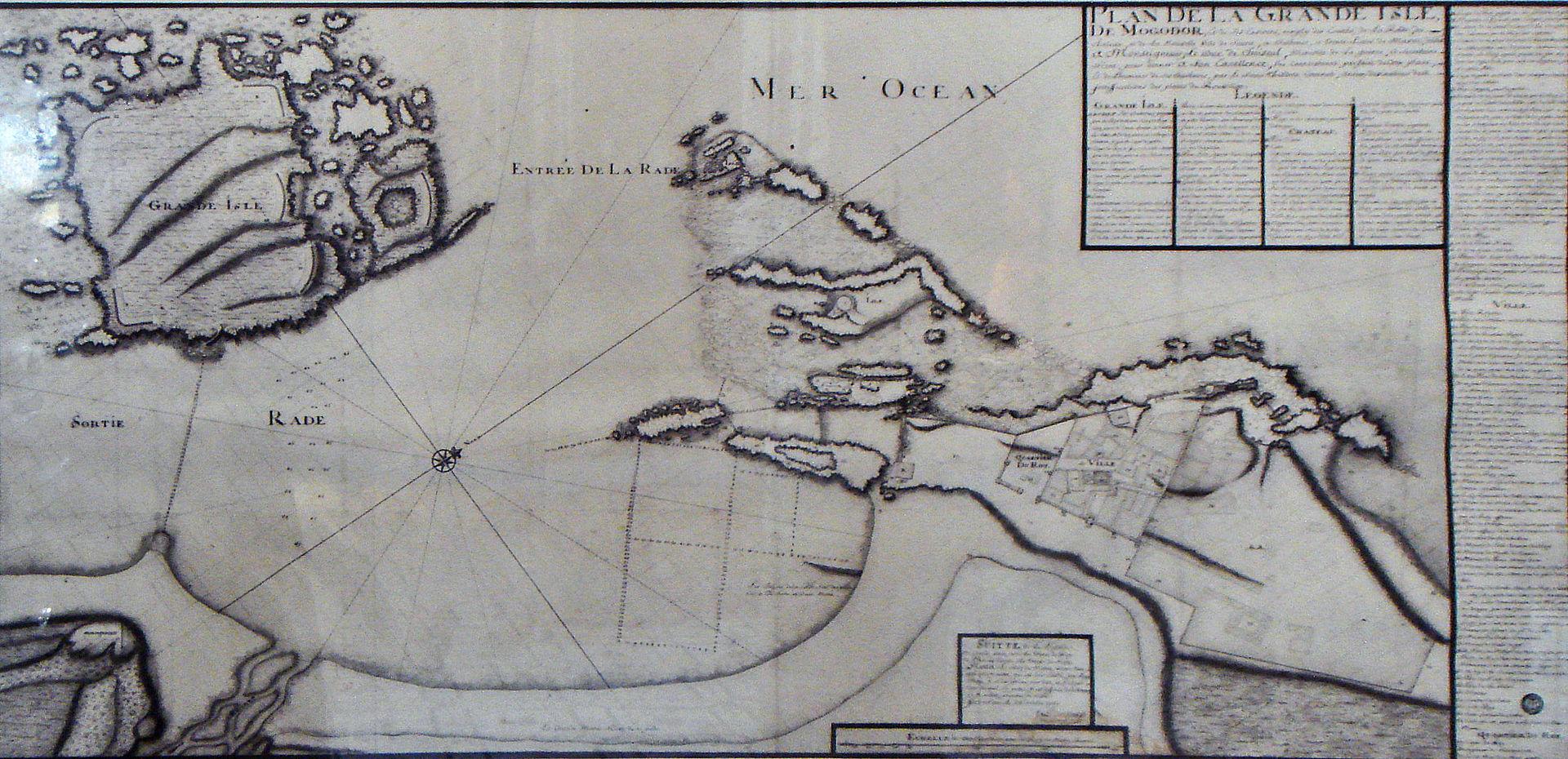 Map Mogador Essaouira by Theodore Cornut 1767