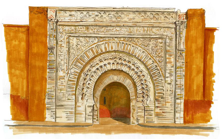 bab agnou porte médiévale almohade illustration