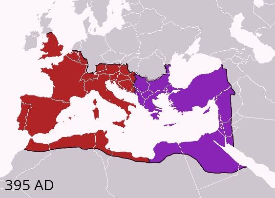 Division Empire Romain Occident Orient an395 Ap JC