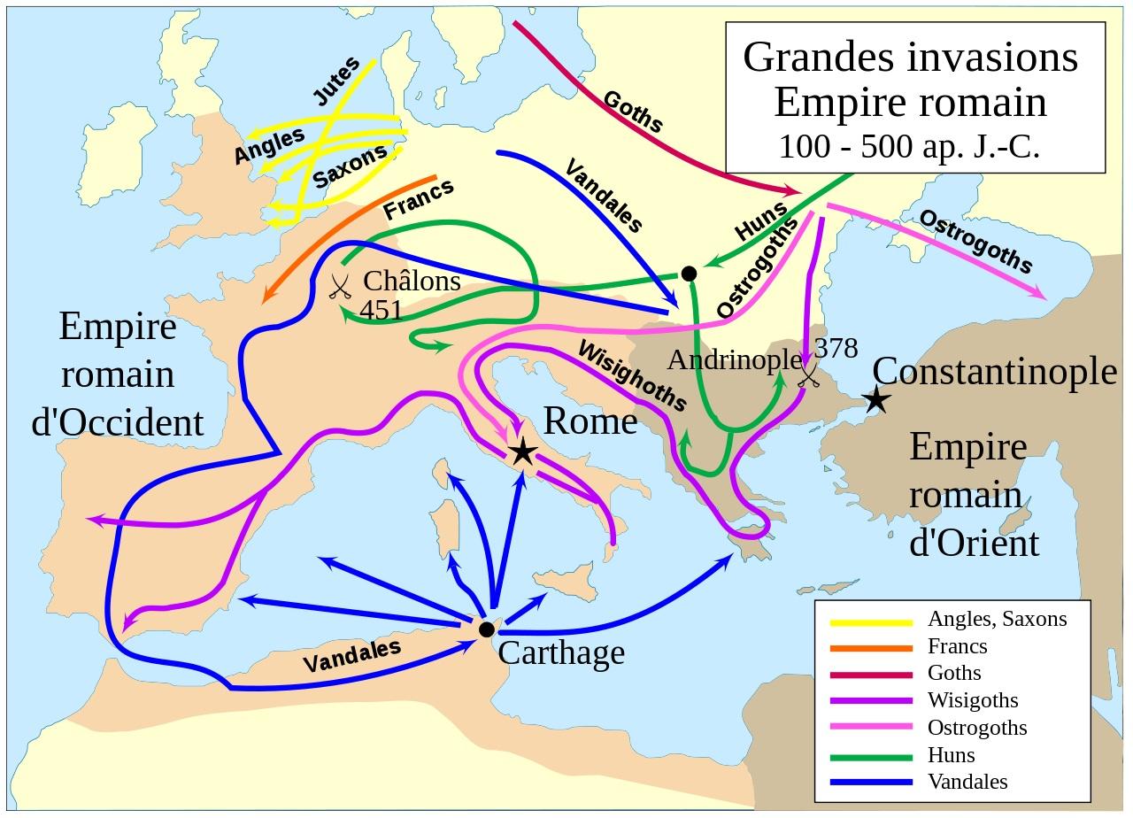 Grandes invasions Barbares - du 4e au 5e siecle - Empire romain - © wiki
