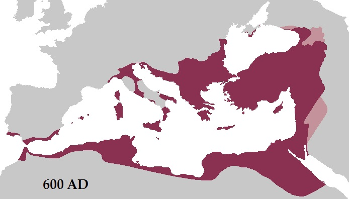 Roman Empire Byzantin - vers 600 Ap JC - Apogee Territoriale