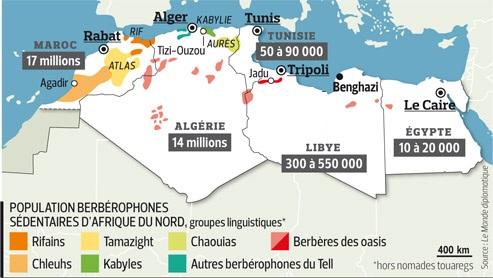 carte des amazighs berberophones afrique du nord - © source monde diplomatique