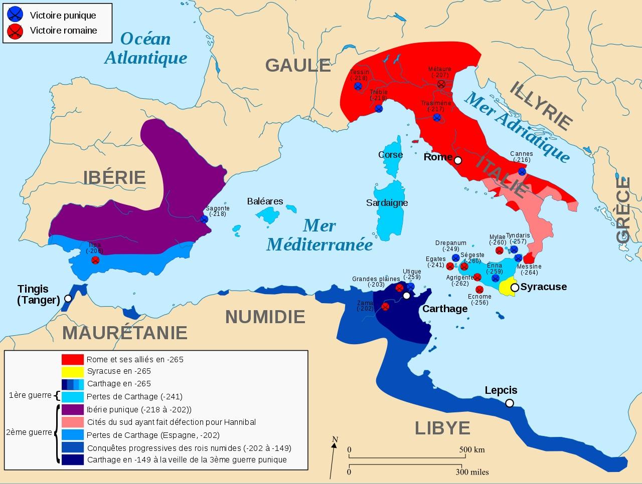 guerres Puniques Numidie 265-149 avt JC Rome Carthage