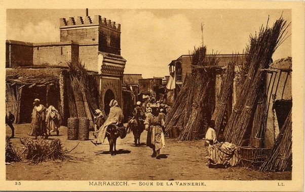 souk de la vannerie Marrakech - photo ancienne