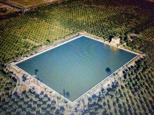Vue aérienne Jardin de la Ménara Marrakech