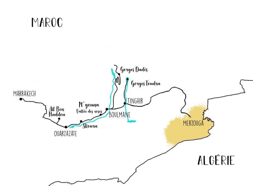 Carte Itineraire de Marrakech a Merzouga