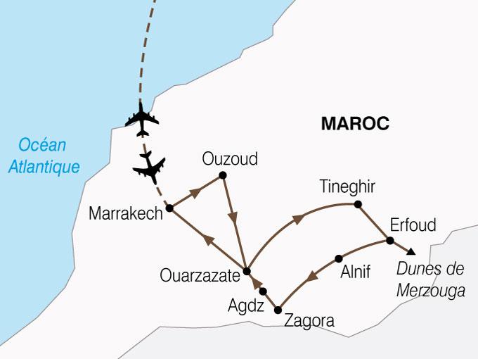 Carte Marrakech Desert Merzouga Sahara
