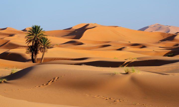Morocco. Sand dunes of Sahara desert from marrakech